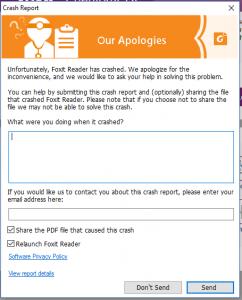 FOXIT Reader Fehlermeldung