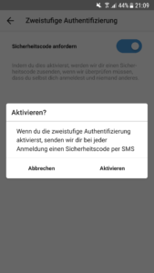 Instagram 2 Faktor Authentifizierung