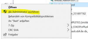 Windows Media Creator als Admin ausführen